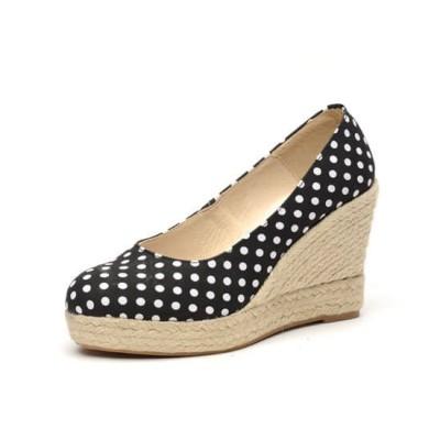 """Zapato de moda flamenca """"Lunares"""" yute con cuña de esparto y suela de goma"""