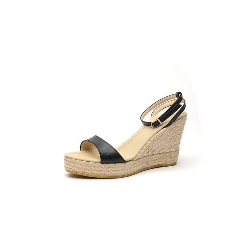 """Zapato de moda flamenca """"Ficus"""" con hebilla cuña de esparto y suela de goma"""