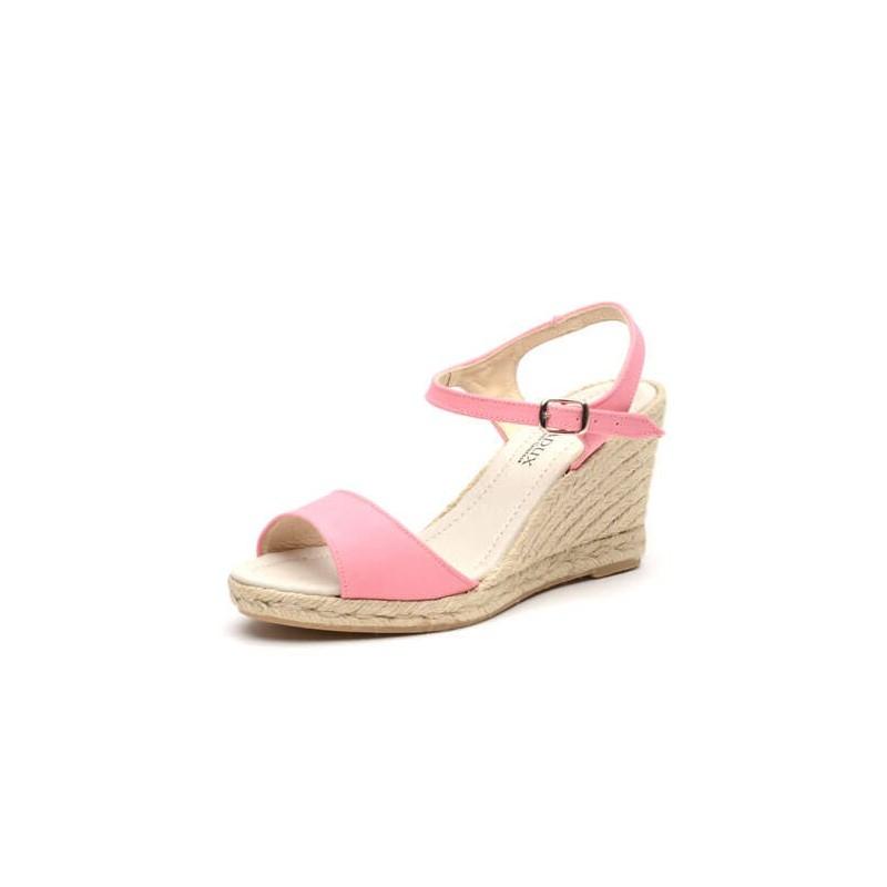 """Zapato de moda flamenca """"Azucena"""" con hebilla cuña de esparto y suela de goma"""
