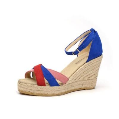 """Zapato de moda flamenca """"Arco Iris"""" con hebilla cuña de esparto y suela de goma"""