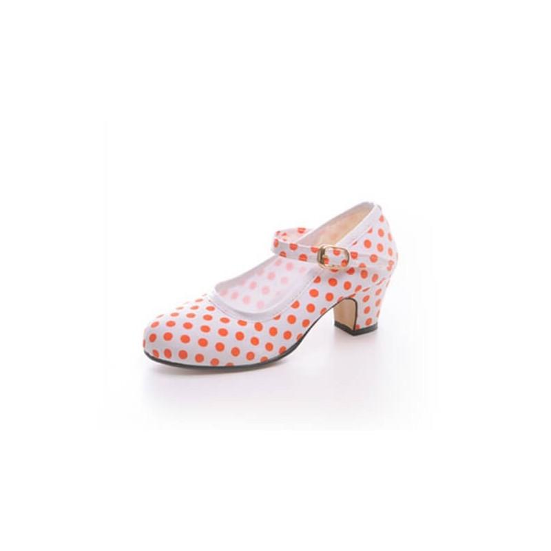 "Zapato de baile flamenco Faralaes ""Gitanilla Feria"" lona de lunares con hebilla"