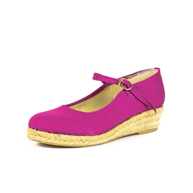 """Zapato de moda flamenca """"Gitana"""" yute con hebilla cuña de esparto y suela de goma"""